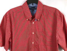 Tommy Hilfiger red plaid checked short sleeve button front shirt men L large