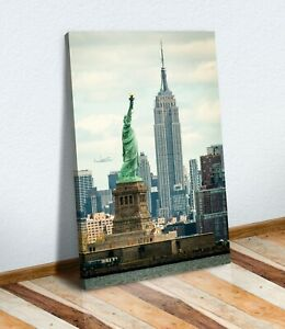 NEW YORK EMPIRE STATE LIBERTY VINTAGE NYC CANVAS WALL ART PICTURE PRINT ARTWORK