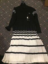 Piu Bella Sweater Dress Size 5Y. Black  & Ivory With Black Stripes Pleated