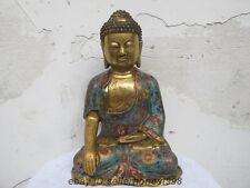 Tibet Tibetan Bronze handwork cloisonne Buddhism Sakyamuni Buddha Statue
