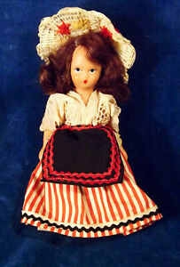 """5.5"""" Vintage 30s-40s Bisque Nancy Ann Style Doll Mohair Wig Large Dollhouse Size"""