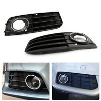 1 Pair Matte Black Front Bumper Fog Light Grille Cover For 09-11 Audi A4 A4L B8