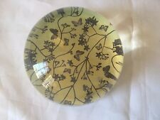 VINTAGE PAPERWEIGHT CLEAR DOME SHAPE Butterflies Flowers yellow back FELT BOTTOM