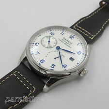 43mm Parnis Seagull Power Reserve Automatic Men's Watch White Dial Leather Strap