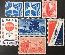 1958-59 airmail singles, Scott #C50-C56, MNH, VF