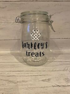 Personalised Dog Treat Jar Glass Paw Print 1 Litre Dog Gift Puppy