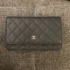 c18f1bfffc1bd CHANEL Grey Quilted Leather Wallet On Chain Bag Gold CC Hardware NWB