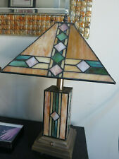 Tiffany Style Table Lamp Art Deco Bronze Stained Glass Any Room
