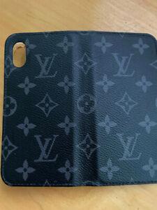 LV IPHONE X,XS MAX FOLIO CASE BLACK MONOGRAM Empreinte leather