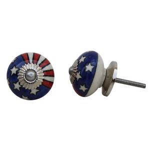 American Flag Ceramic Cabinet Door Knob   Stars & Stripes USA Cupboard Handle