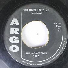 50'S & 60'S  45 The Monotones - You Never Loved Me / Book Of Love On Argo