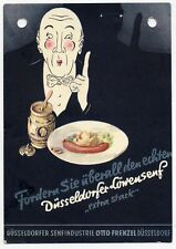 AUSTRIA 1933 COLOUR POSTCARD ADVERTISING DUSSELDORF MUSTARD COMMERCIALLY USED