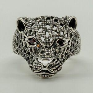 Leopard Head Ring .925 silver Cubic Zirconia Eyes Big Cat Cheetah Cougar X-Z+5