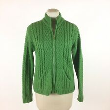 Inis Crafts Green Cardigan Sweater Sz L Full Zip Wool Fisherman Cable Knit