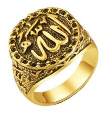 Mens Antique Gold Allah Ring Islamic Shahada Arabic Muslim God Gift Jewellery UK