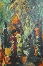 ABSTRACT OIL PAINTING FIGURES SIGNED