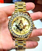 Iced Watch Masonic Bling Rapper Lab Diamond Metal Band Gold Hip Luxury Masonry