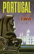 PT02 VINTAGE PORTUGAL TWA TRAVEL A4 POSTER PRINT