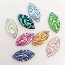 20pcs MIX 11mm*22mm AB Resin Horse eye Flatback Rhinestone Wedding 2 Hole trim