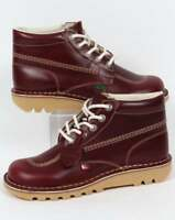 Kickers Kick Hi Boots In Cherry Brown (Dark Red) Leather