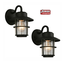 Outdoor Exterior Porch Light Sconce Lantern Wall Lighting Fixture Black 2 Pack