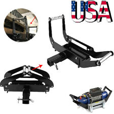 Foldable Recovery Winch Mounting Plate Cradle Mount 2'' Hitch Receiver 4WD SUV
