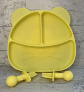 Baby Silicone Feeding Set Plate Bowl Fork Spoon Utensils Kitty Cat