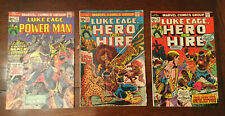 Lot (3)Luke Cage Hero Power Man and Hero For Hire (1973-74) Marvel Comics