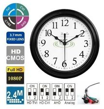 4-in-1 HD 1080P Wall Clock Hidden Camera 2.4MP 3.7mm Pin Hole Lens, BNC 12VDC