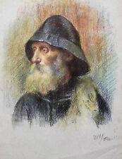 Pastel signé et daté 1920  Portait de marin Retrato Marine cadre impressionnisme