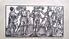 Hans Holbein original the praise of folly woodblock 1850 the knight