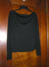 CRUEL EXPOSED BACK BLACK KNIT TOP WITH TEAL EMBROIDERED BAND SZ S 0418