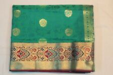 Indian Traditional Kanchipuram Silk Saree Ethnic Sari Bridal Party Wear Dress