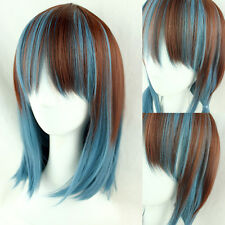 Anime Lolita Harajuku Wig Short Straight Hair Cosplay Party Brown Blue Full Wigs