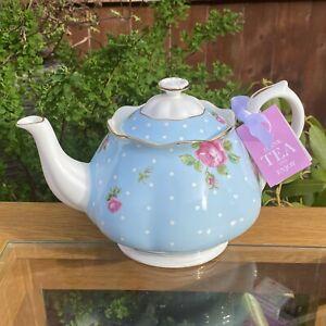Royal Albert Blue Polka Rose 2.2 Pt Full Sized Lidded Teapot - 1st Quality & New