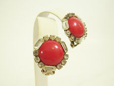 Red Cab Bagette n Round Rhinestone Frame Clip on Earrings Cherry Vintage Estate