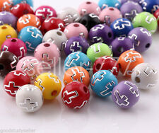 100 pcs Mix color Acrylic Cross Facet Beads Charms Jewelry making findings 8mm