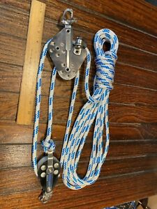 "RONSTAN SNAP SHACKLE MAIN SHEET, VANG 3:1 BLOCK/TACKLE W/25' NEW 3/8"" LINE"