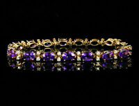 12Ct Oval Cut Amethyst & Diamond Vintage Tennis Bracelet 14k Rose Gold Finish