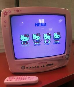 """Hello Kitty Pink 13"""" Vintage Television TV With Remote HKTV13 CRT TV"""
