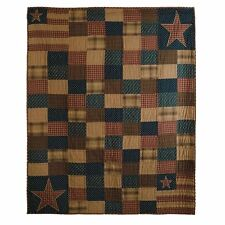 New Primitive Homespun Americana PATRIOTIC PATCHWORK Quilt Blanket Throw 50x60