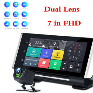 "7"" Touch 4G ADAS Android 5.1 Car GPS Nav WIFI Bluetooth DVR Dual Camera Recorder"