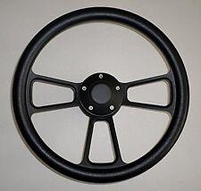 BLACK Half Wrap 14 BILLET Powder coated Steering wheel, adaptor & Horn Button