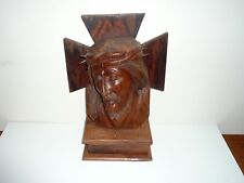EARLY WOODEN HAND CARVED EUROPEAN BUST OF JESUS  ON STAND circa EARLY 1900s