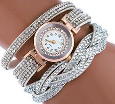 UK Elegant Womens Crystals Rose Gold White Quartz Dress Fashion Watch Felt Strap