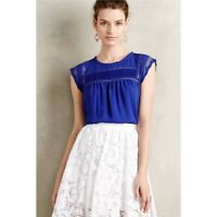 Anthropologie MEADOW RUE Women's SMALL Blue Lace NELLORE Flowy Top Blouse