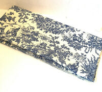Navy Blue Traditional French Toile Cotton Upholstery Fabric 3.25Yards