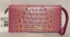 Brahmin Melbourne ANNMARIE Clutch Large Wristlet Wallet PEONY OMBRE Pink NWT