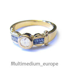 Pierre Lang Ring massiv vergoldet signiert Strass paste weiss blau safir farben