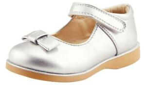 Girl's School Dress Classic Shoes Touch Close Mary Jane Silver Color Toddler